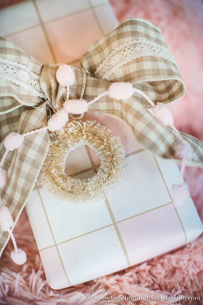 How To Make Your Gifts Look Amazing, Christmas Gift Wrapping Ideas to help your gifts be unforgettable! Pale pink buffalo check plaid wrapping paper