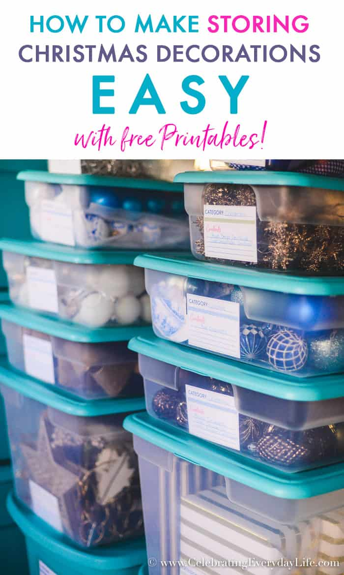 How to Make Storing Christmas Decorations Easy with Free Printables!