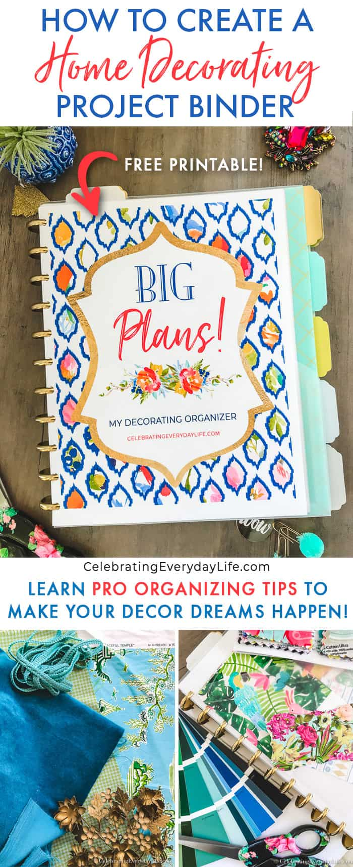 How to Create a Home Decorating Project Binder, Learn How to get organized to decorate your home yourself! CelebratingEverydayLife.com