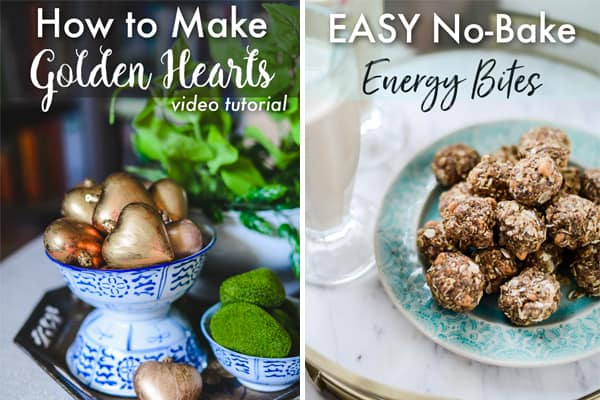 How to Make DIY Gold Gilded Hearts, Easy No-Bake Energy Bites Recipe, Celebrating Everyday Life blog, CelebratingEverydayLife.com