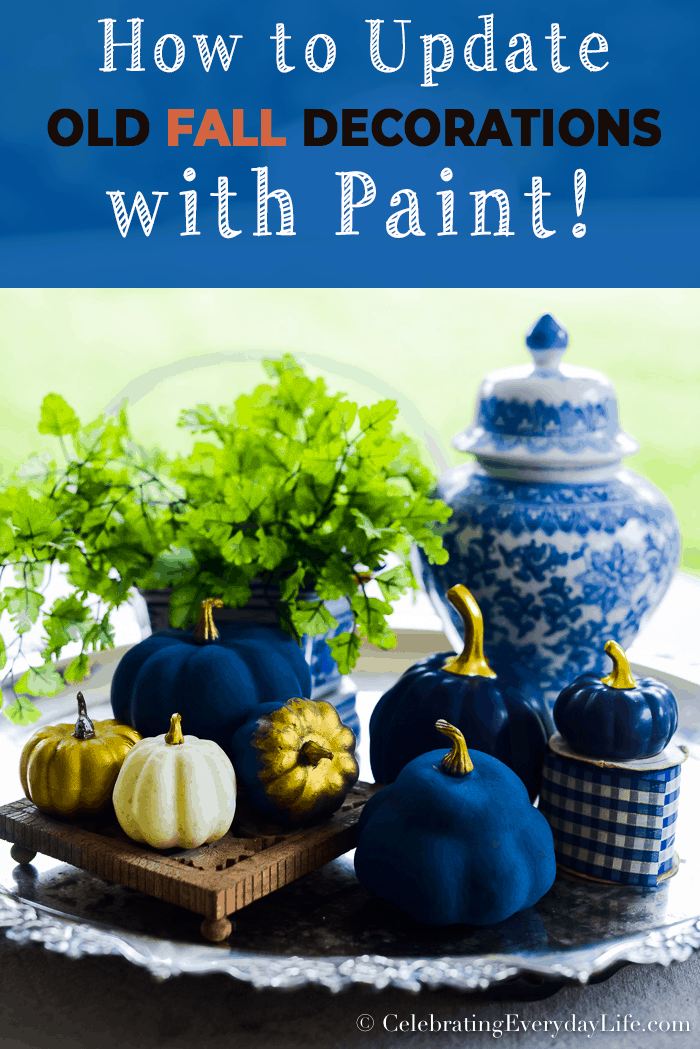 How to Update Old Fall Decorations with Paint (or How to Paint Pumpkins!)