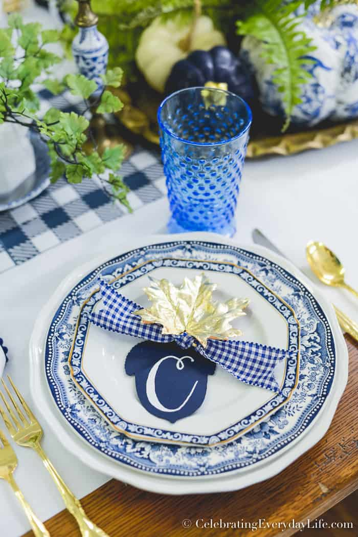 Elegant Fall Blue and White Table