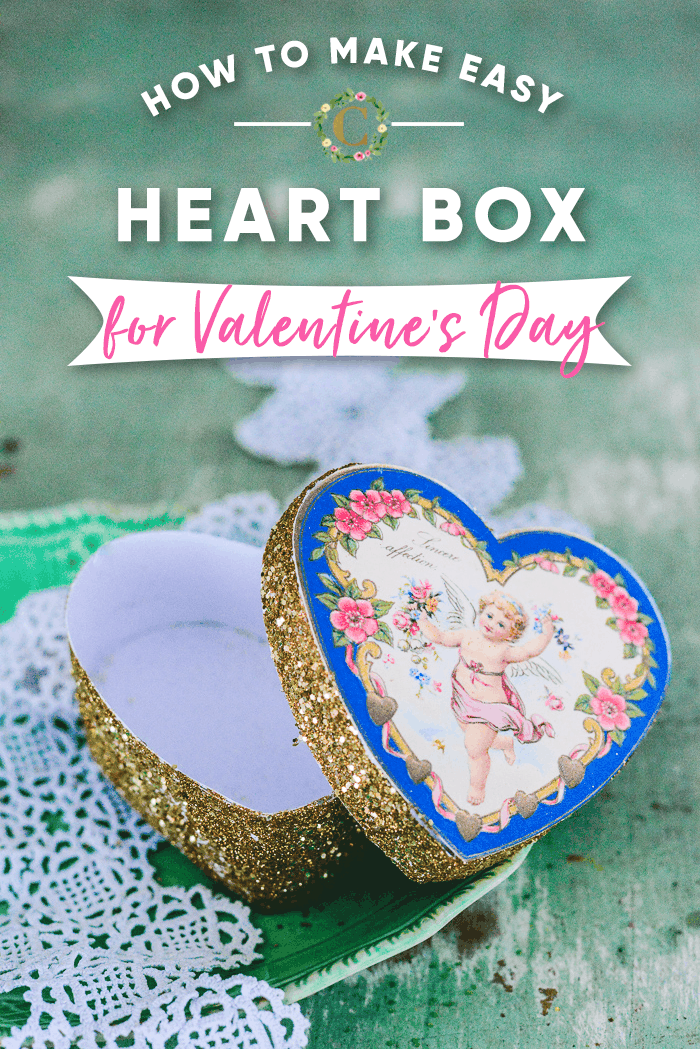 paper heart box on a green table