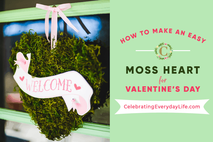 Moss heart with pink and white banner hanging on a door with a blog of text next to it sharing blog title.