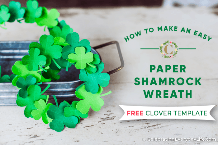 easy paper shamrock wreath on a rustic white table with a galvanized tray